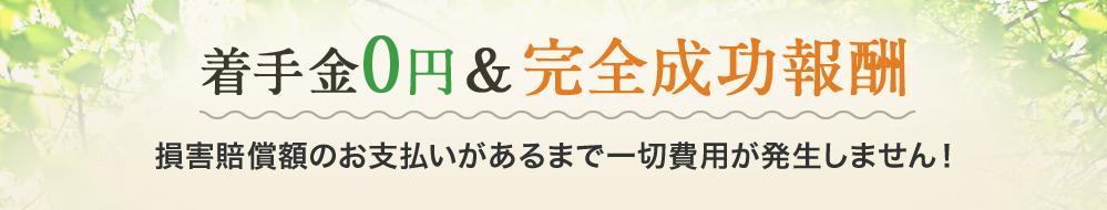 着手金0円&完全成功報酬 損害賠償額のお支払いがあるまで一切費用が発生しません!
